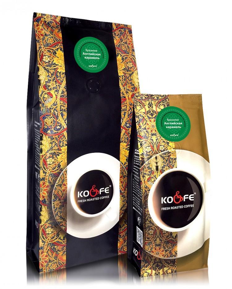 Кофе Ко энд Фе  жареный в зернах ароматизированный Английская карамель