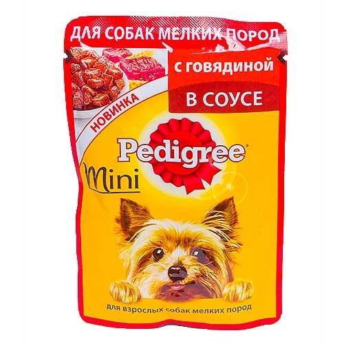 Корм Pedigree влажный для взрослых собак мелких пород с говядиной в соусе