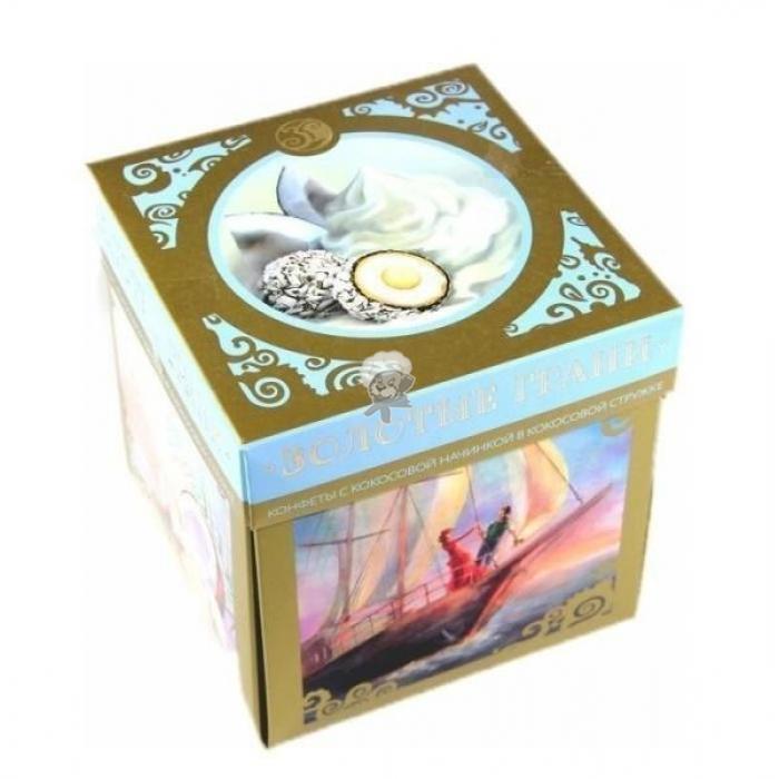 Конфеты Золотая Русь Золотые грани с начинкой сливочной в вафельной крошке