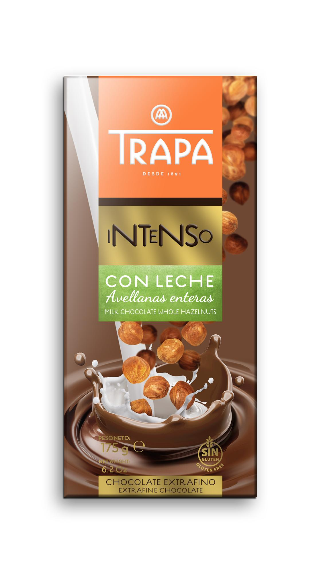 Шоколад TRAPA Intenso Con Leche молочный шоколад с фундуком