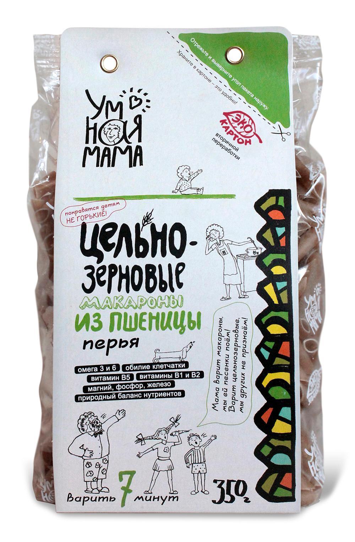 Макароны цельнозерновые Умная Мама Перья из пшеницы