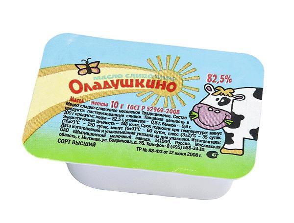 Масло Оладушкино сладко-сливочное несоленое традиционное 82,5%