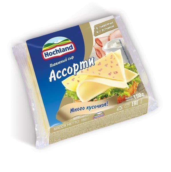 Сыр плавленный Hochland Ассорти ломтиками