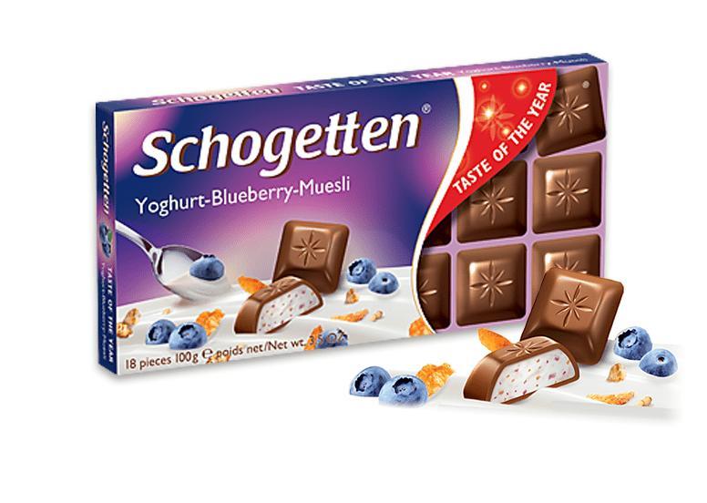 Шоколад Йогурт, Черника, Мюсли, Schogetten Yoghurt-Blueberry-Muesli, 100 гр., Картонная коробка