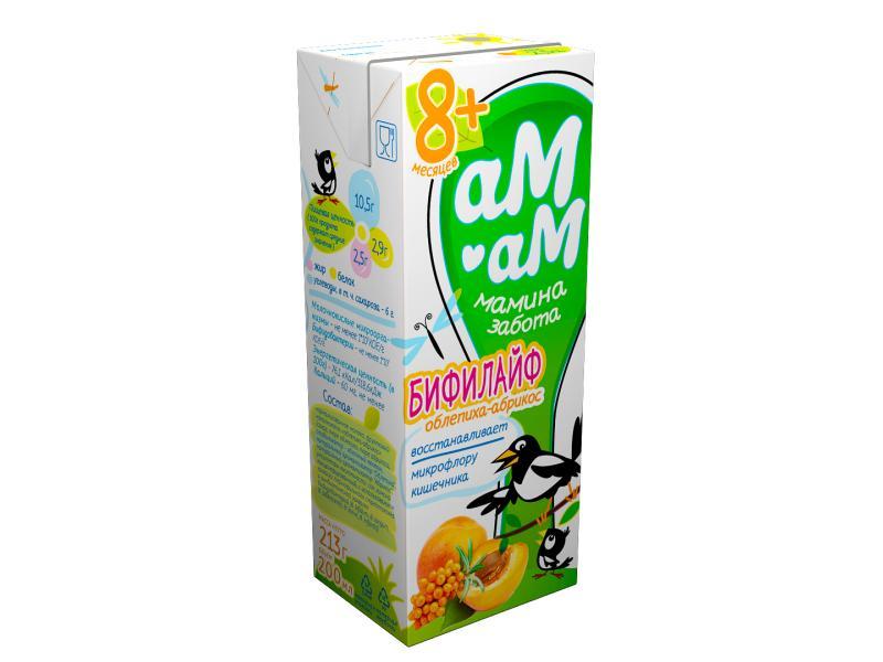 Бифилайф мамина забота кисломолочный Облепиха-абрикос 2,5% Ам-Ам 210 гр., Тетра-пак
