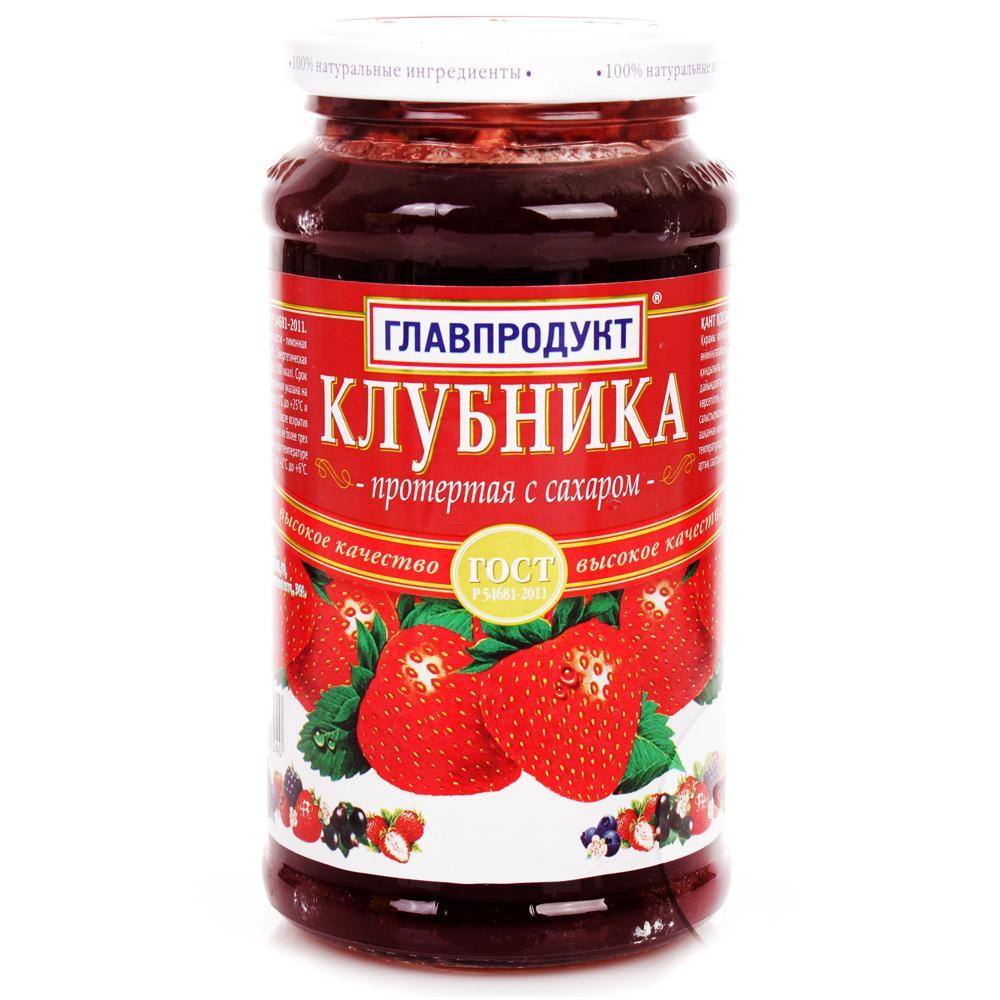 Клубника Главпродукт протертая с сахаром