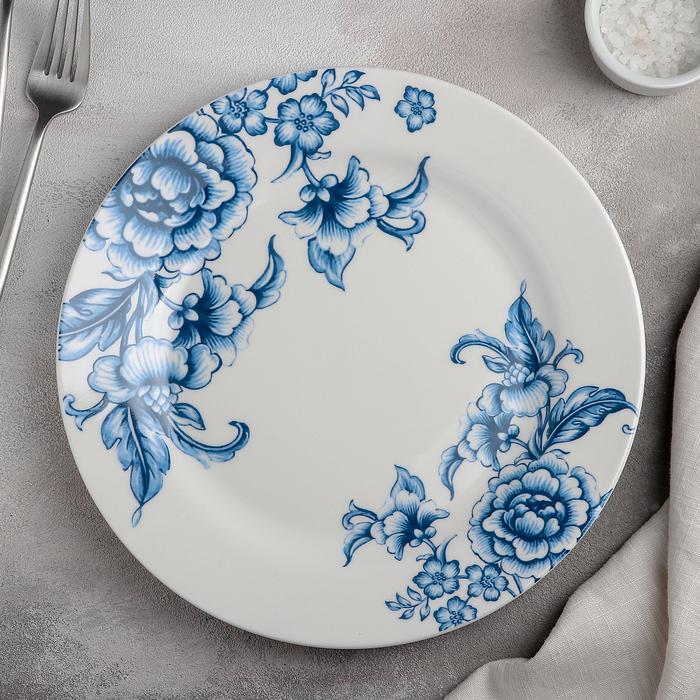 Тарелка обеденная Селена 25,3×2,2см. цвет белый/синий