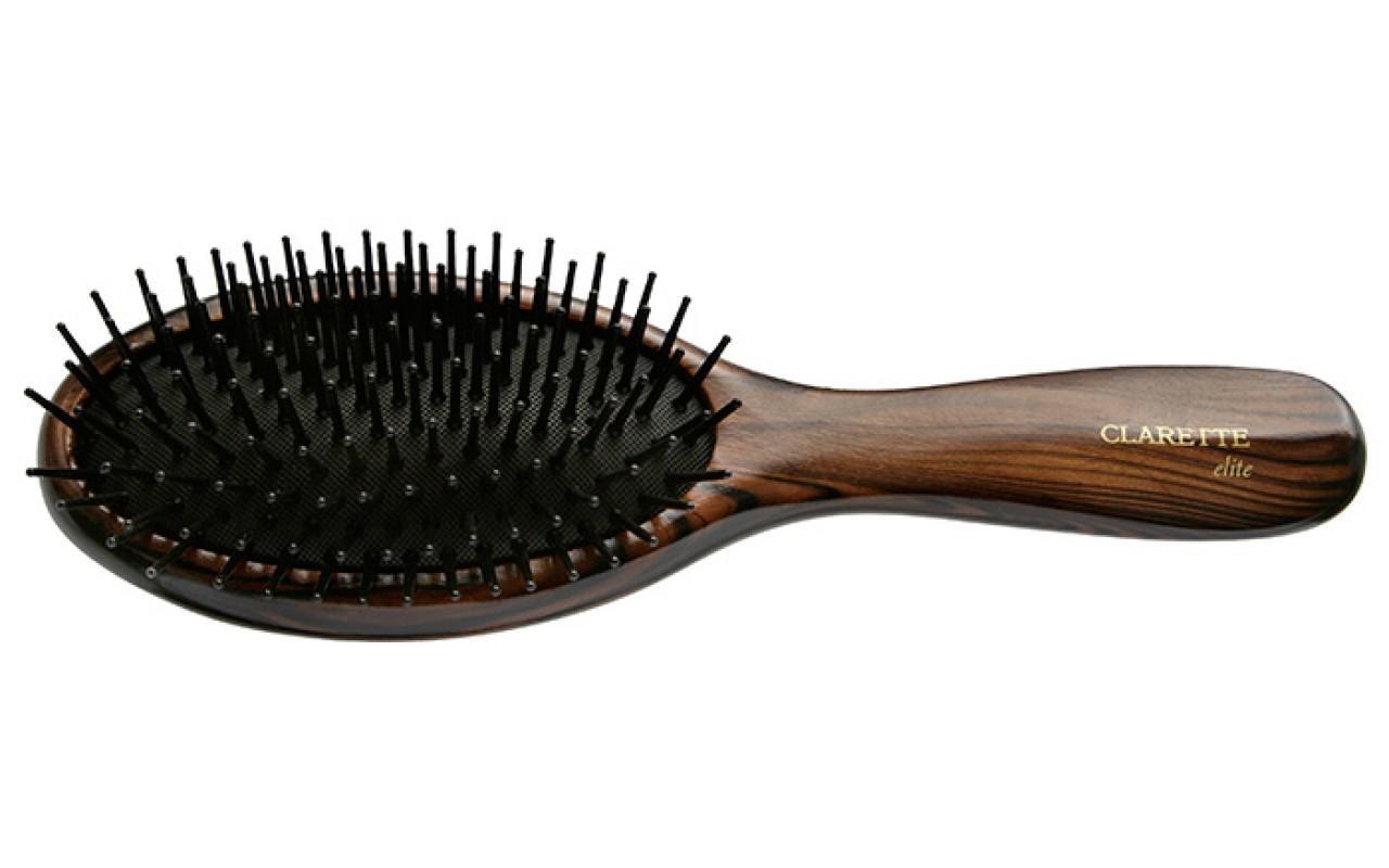 Щетка для волос Clarette Elite Шоколад На подушке с пластиковыми зубьями
