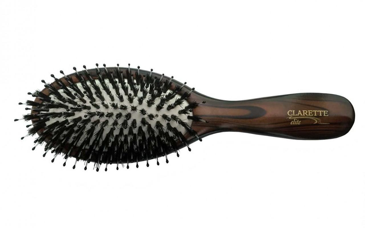 Щетка для волос Clarette Elite Шоколад На подушке со смешанной щетиной
