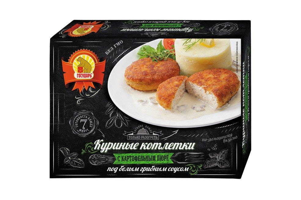Готовое блюдо Государь Котлеты куриные с картофельным пюре под белым грибным соусом