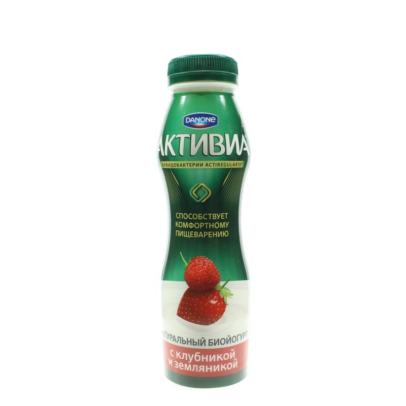 Йогурт питьевой Активиа Клубника Земляника 2%