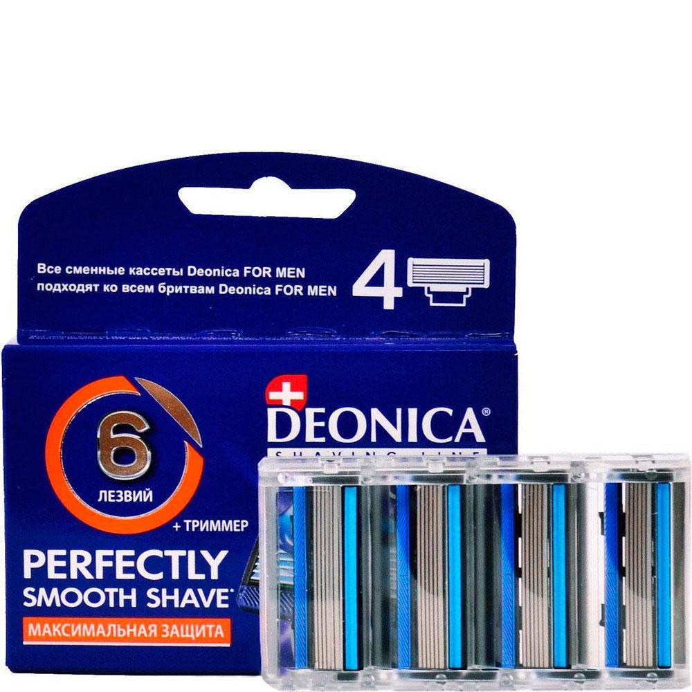 Сменные кассеты Deonica для бритья мужские 6 лезвий