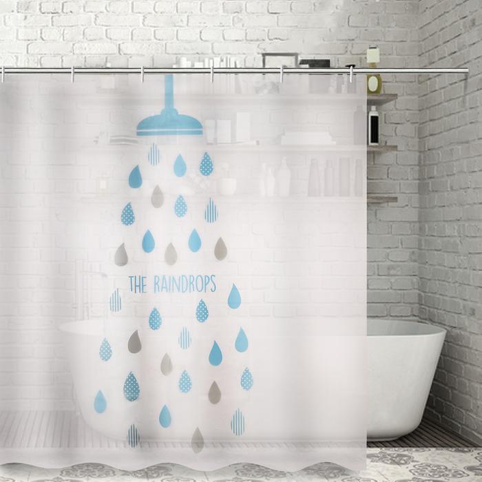 Штора для ванной Доляна Капли 180×180см. EVA