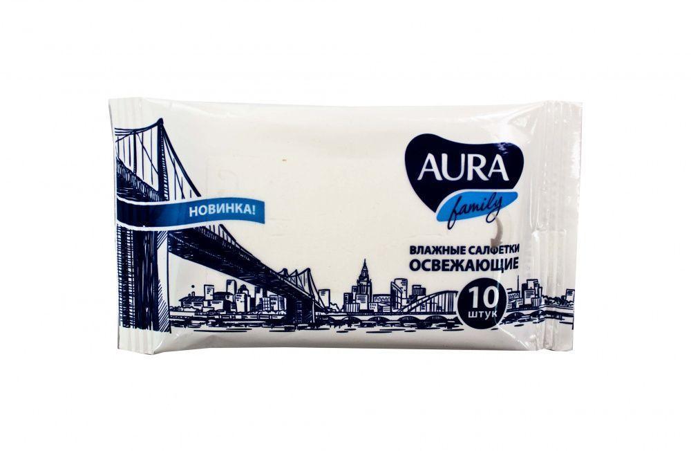Влажные салфетки Aura Family Освежающие