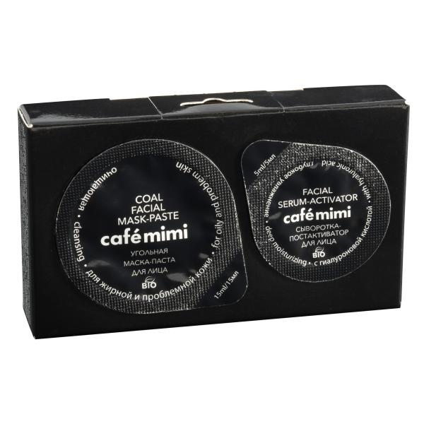 Маска-паста для лица 2в1, Угольная, Очищающая, Cafe Mimi, 25 гр., Картонная коробка