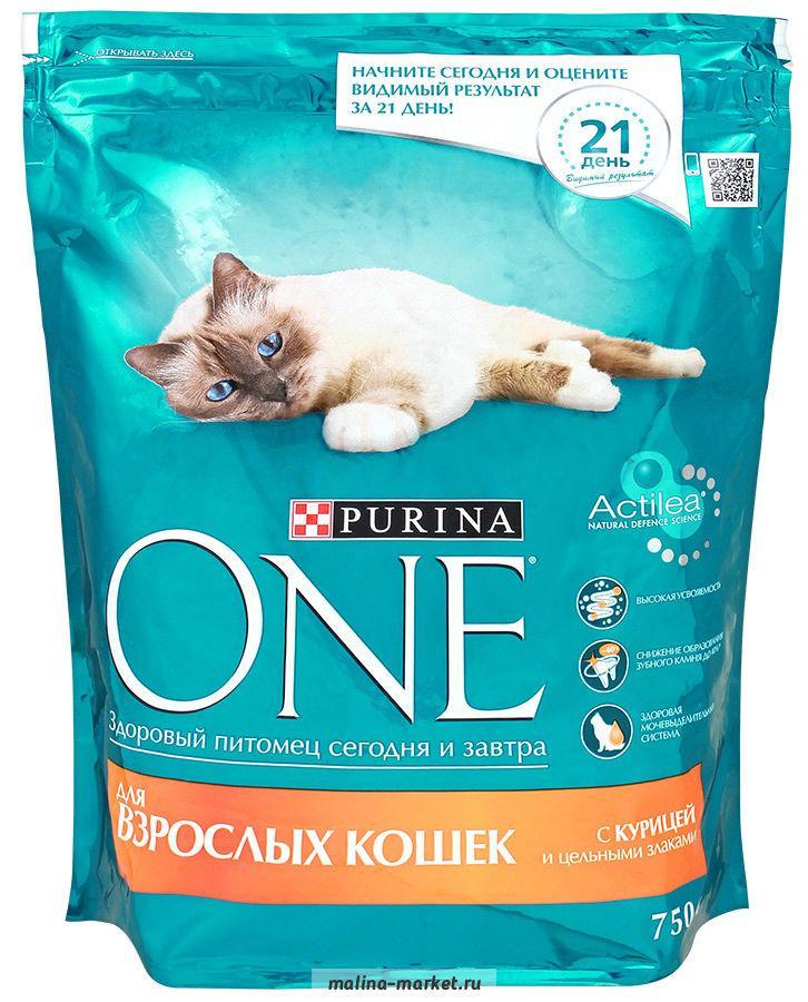 Корм Purina One для взрослых кошек с курицей и цельными злаками