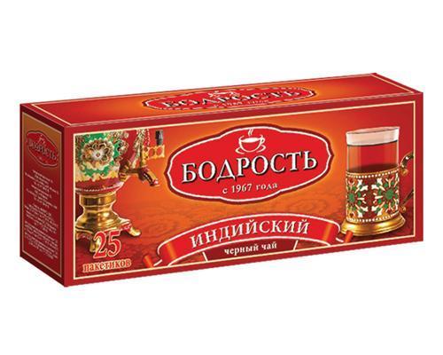 Чай чёрный пакетированный Бодрость Индийский 25 пак. 50 гр