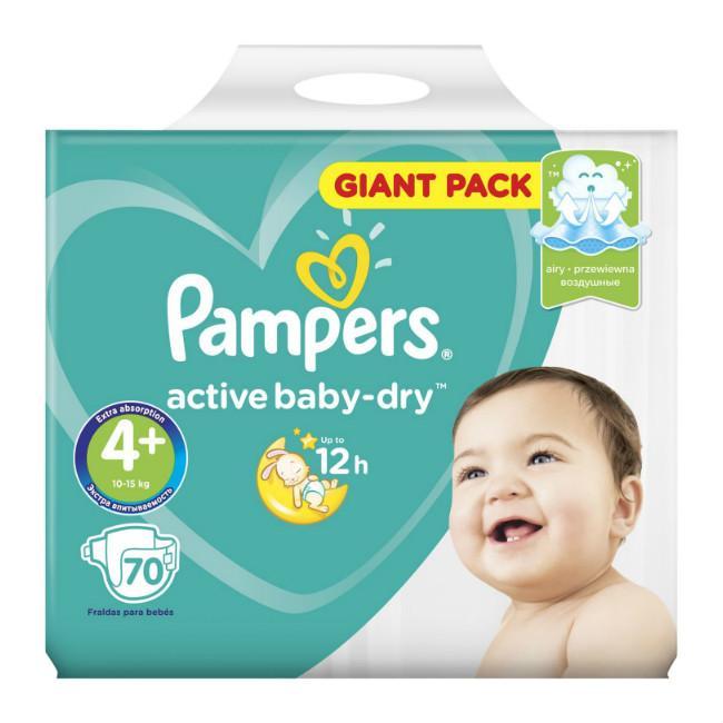 Подгузники Pampers Active Baby Dry 10-15 кг р.4+ 70 шт.