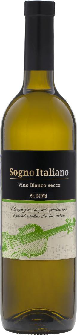 Вино, столовое белое сухое, Sogno Italiano, 750 мл., стекло