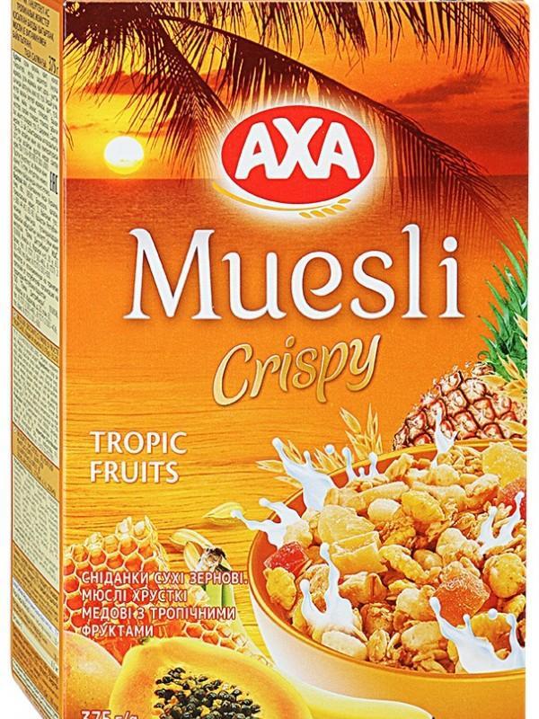 Мюсли Аха хрустящие медовые с тропическими фруктами 250гр