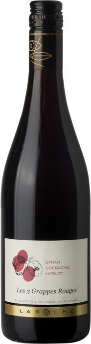 Вино 3 Грап Руж Де Ля Шевальер / 3 Grappes Rouges de la Chevaliere,  Сира, Мерло, Гренаш,  Красное Сухое, Франция