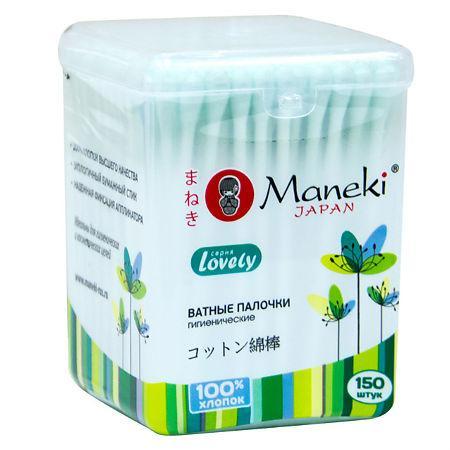 Палочки ватные гигиенические Maneki, с зеленым стиком 150 шт