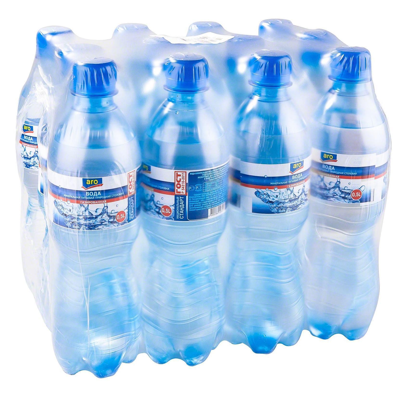 Вода Aro минеральная питьевая газированная
