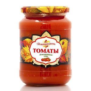 Овощные консервы Золотая Осень томаты в томатном соке