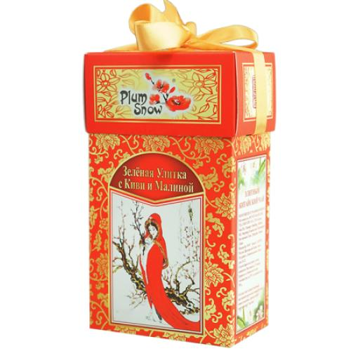 Чай Plum Snow Зеленая улитка с киви и малиной 100 гр
