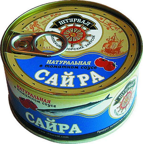 Сайра Штурвал натуральная в томатном соусе