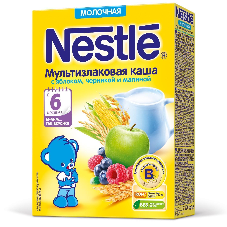 Каша Nestle молочная мультизлаковая с яблоком, черникой и малиной с 6 месяцев