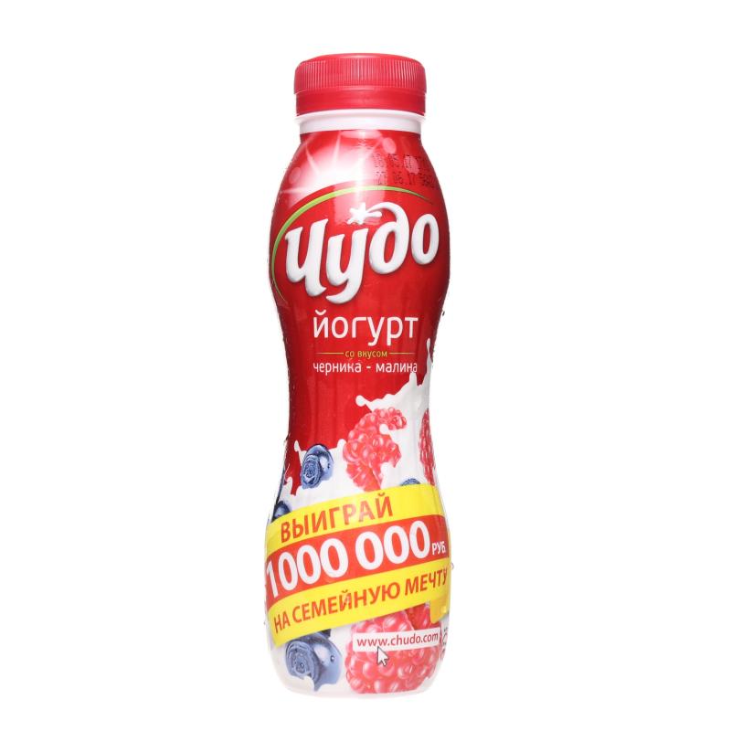 Йогурт питьевой Чудо Черника Малина 2,4%