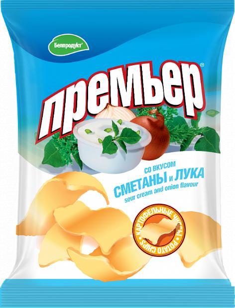 Чипсы Премьер картофельные со вкусом сметаны и лука