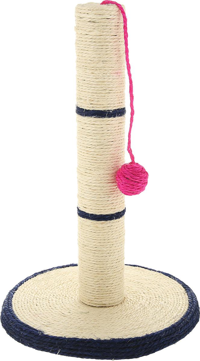 Когтеточка Triol Столбик №206 на подставке с шариком 30х46см.
