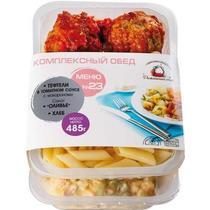 Комплексный обед Домашний очаг №23 Тефтели в томатном соусе с макаронами Салат оливье Хлеб