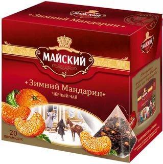 Чай Майский Зимний Мандарин черный в пирамидках