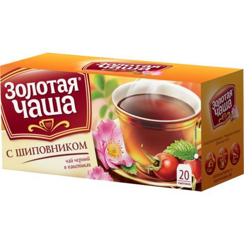 Чай черный Золотая Чаша С шиповником 20 пакетов