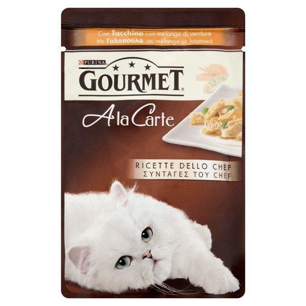 Корм влажный для кошек Птица баклажан цуккини томаты Gourmet 85 гр. Дой-пак