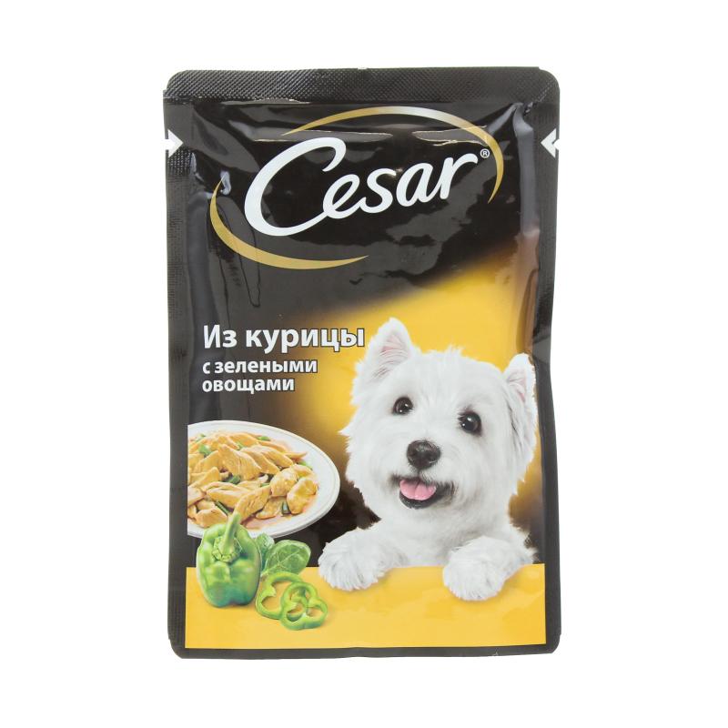 Корм влажный для собак из курицы с зелеными овощами Cesar 100 гр. Дой-пак