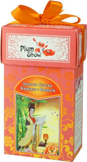 Чай чёрный крупнолистовой Plum Snow Золотая улитка Каркаде с вишней 100 гр