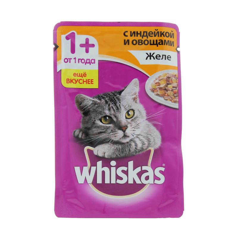 Корм влажный для кошек от 1 года желе с индейкой и овощами Whiskas 85 гр. Дой-пак