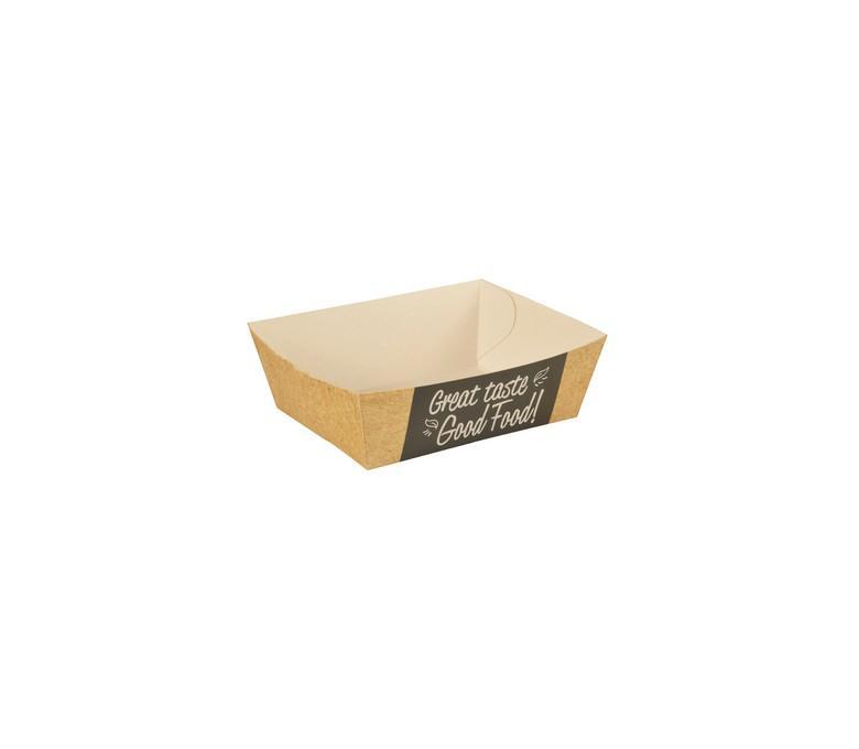 Лоток для закусок Papstar с дизайном Good food! эко картон 120х70х35мм.