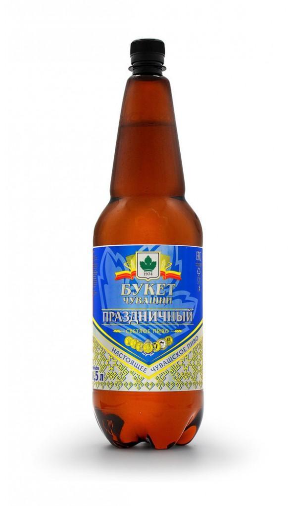 Пиво Букет Чувашии Праздничный светлое фильтрованное пастеризованное 5%
