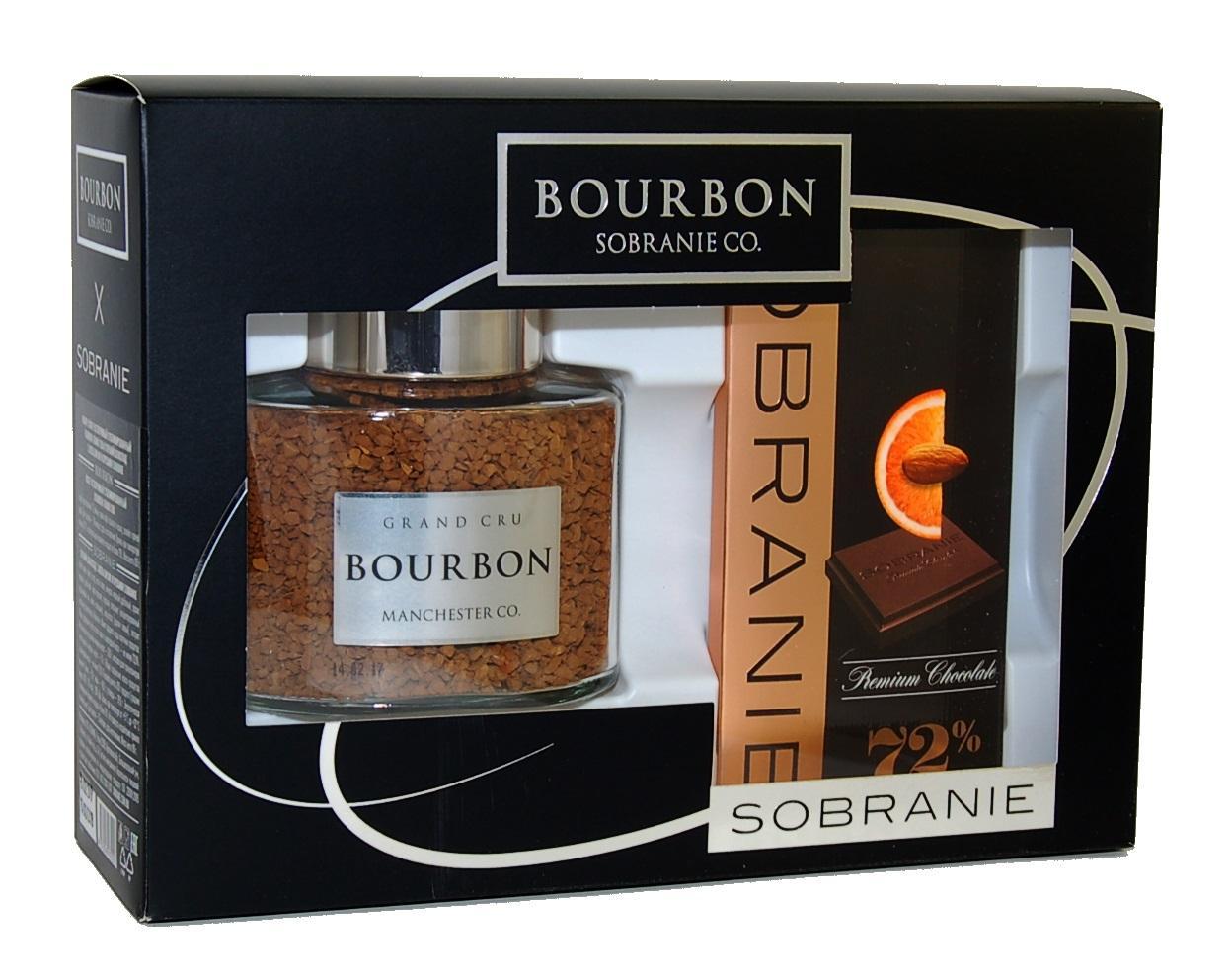 Набор Sobranie Горький шоколад с апельсином и орехами + Кофе растворимый Bourbon