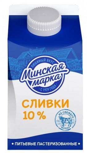 Сливки Минская марка Питьевые пастеризованные 10%