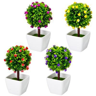 Цветок декоративный в горшке Цветочная коллекция, пластик, 18,5х10х10 см, 4 цвета, 1507-17