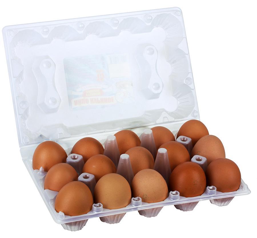 Яйцо столовое С1 коричн./белое 15-ти штучное