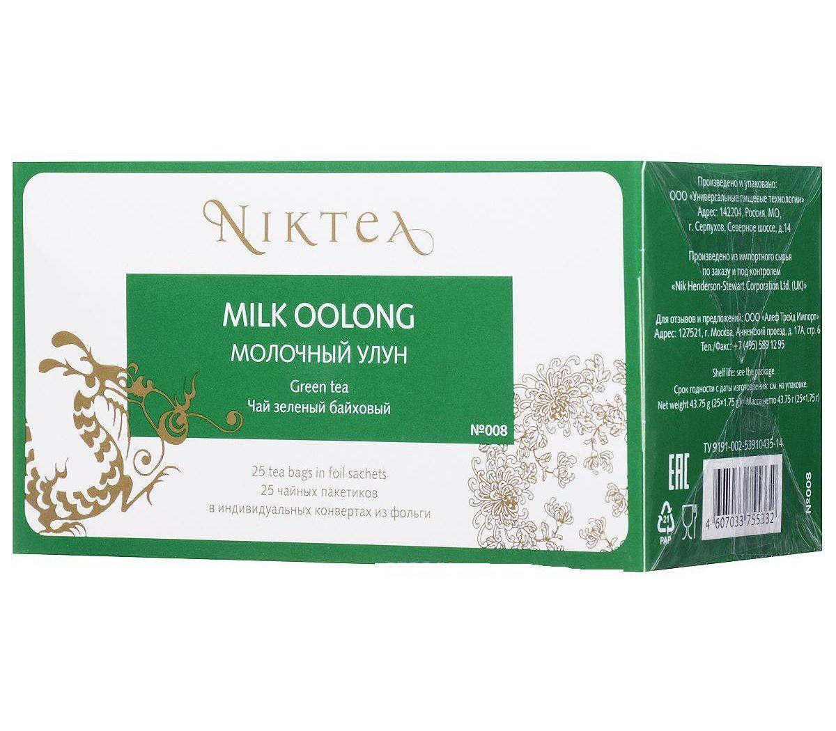 Чай зеленый Niktea Niktea Milk Oolong 25 пакетов