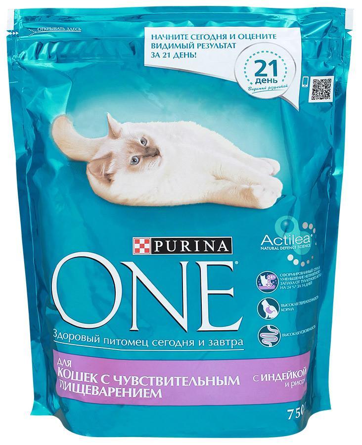 Корм Purina ONE для кошек с чувствительным пищеварением с индейкой и рисом 750г