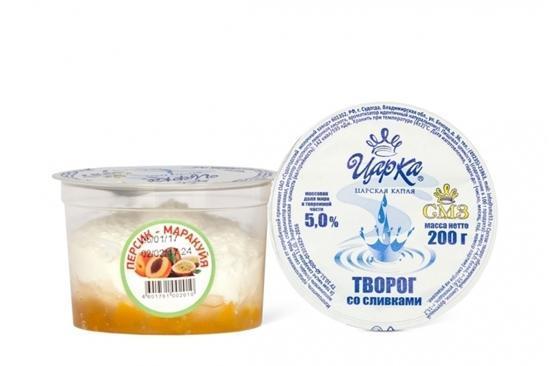 Творог ЦарКа со сливками Персик-маракуйя 5%